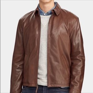 POLO Classic leather brown bomber jacket